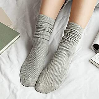 ZNTY Japanese Korea High School Girls High Socks Loose Solid Colors Double Needles Knitting Cotton Long Socks Women (Color : Silver)