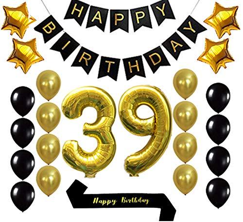 Gold 39th Birthday Decorations Balloon Banner - Happy Birthday Banner, 39 Gold Number Balloons, Gold and Black Balloons, Happy Birthday sash, Birthday Decoration Supplies Fancy