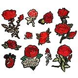 Dsaren 11pcs Parches Bordados para Ropa Termoadhesivos Rose Flores Coser Parches para Camiseta Vaqueros Sombrero