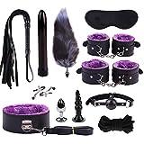 Cosplay Soft Fur PU Leather Costume Accesorio Esposas Plug Message kit 12 PCs Set- Purple