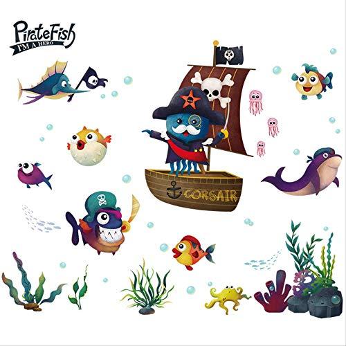 Cartoon Kinderkamer Jongen Slaapkamer Decoratie Aquarium Piraat Schip Muursticker Badkamer Badkamer Tegel Stickers 80 * 107Cm