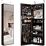 Zqcm armario para joyería, pared/puerta - espejo colgante para montaje en puerta armario para joyería armario de cuerpo entero con cerradura con luces led, brown