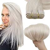 Easyouth Hair Bundles Remy Hair Bundles Tessitura Capelli Veri Colore Bianco Biondo 14 Pollice 70g Per Confezione intrecciano Veri Capelli Umani Cuciti Nell'Estensione Dei Capelli
