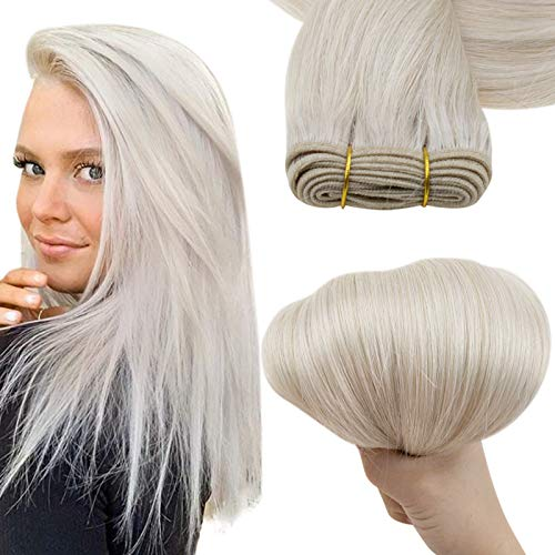 Easyouth Tissage Naturel Cheveux Humain Blond Glacée Tissage Bresilien Hair Droit Remy Hair Extensions Cheveux Naturel Tissage Brésilienne 12pouce 70g 1Pcs