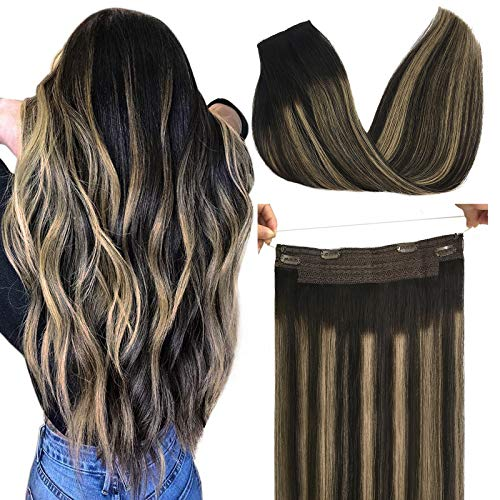 GOO GOO Human Hair Extensions Halo Hair Natural Black to Light Blonde, 70g 14 Inch Real Hair Extensions for Women One Piece Layered Flip Hair Extensions Invisible Hidden Crown Wire Hair Extensions