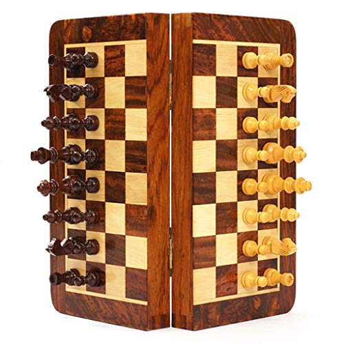 RTYUI Chess Board Magnetic Wooden Chess Set, Travel Portable Chess Board Game Sets, Storage For Wood Pieces, Travel Game Toys Gift Chess Set (Size : 25Cm)
