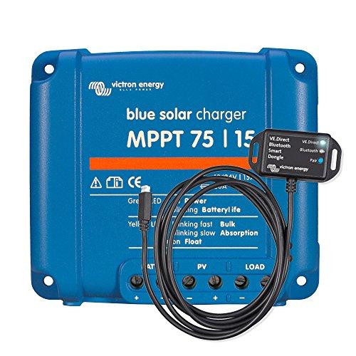 Victron Energy Set BlueSolar | Solarladeregler | Solar-regler | Laderegler | MPPT 75/15 | 12 - 24 V | 15 A | inklusive VE.Direct Bluetooth Smart dongle