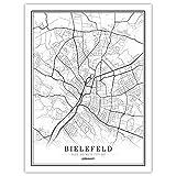 Leinwand Bilder,Deutschland Bielefeld Stadtplan Poster,