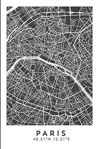 PARIS 48.51ºN /2.21ºE: Cuaderno de viaje. Diario, bullet journal, bujo, Diseñado en Barcelona, cuaderno de dibujo, sketchbook, bujo, punteado, planificador de viajes, mapa de ciudades (CITY MAPS)