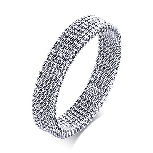RNXRB Flexible Steel Ring Mesh Flat Chain Band Ring For Men Jewelry Wedding Accessories rings 9 4mm