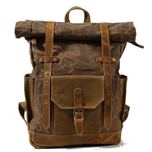 Canvas Backpack, Vintage Canvas Leather Backpack Hiking Daypacks Computers Laptop Backpacks Unisex Casual Rucksack Satchel Bookbag Mountaineering Bag,brown