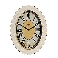 NIKKY HOME Oval Paris Decor Wall Clock, 18 by 13 Inches, Off-White, Antique Reproduction