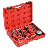 vidaXL Kit de Comprobación de Compresión de Motor Diésel 14 Piezas Medidor Comprobadores Herramientas Coche Manómetro Inyectores Adaptador Estuche