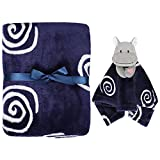 TILLYOU Soft Baby Security Blanket with Plush Blanket for Infant or Newborn, Warm Snuggle Blanket Animal Toy for Baby Boys, Small Soothing Minky Blanket for Teething, Cuddling, Hippo, Navy Blue