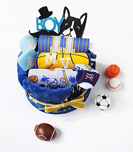 QSEFT Nouveau-Né Cadeau Boîte Automne Et Hiver Bébé Fournitures Vêtements Costume Nouveau-Né Coton Jouets Haute Qualité Pleine Lune Cadeau Jouet Balle 0-12 Mois,Blue,6~9M