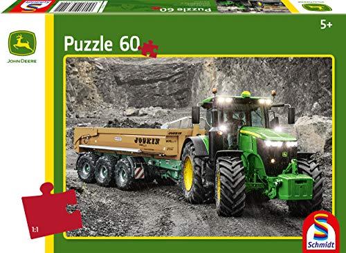 Schmidt Spiele- John Deere Traktor 7310R-Puzzle Infantil (60 Piezas), Color carbón (56314)
