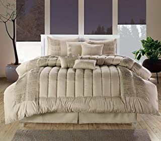 Chic Home 8-Piece Seville Embroidered Comforter Set, Queen, Taupe