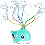 Juguete de Rociadores, Juguete de Agua de Rociadores, Linda Forma de Ballena, Juguetes de Verano con 6 Tubos de Colores Rociadores de Agua Giratorios, de Jardín y Aire Libre, de Ducha para Niños