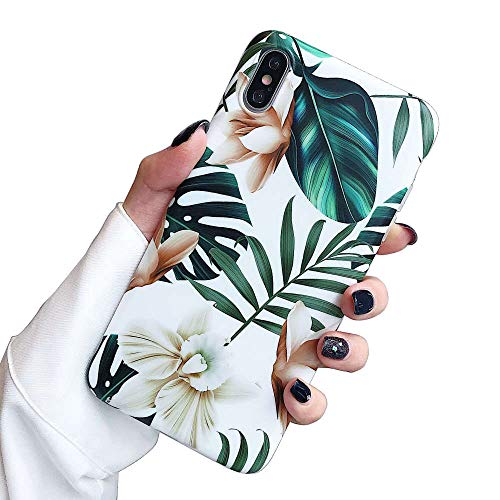 ooooops iPhone Xs Max Case for Girls, Green Leaves with White & Brown Flowers Pattern Design, Slim Fit Clear Bumper Soft TPU Full-Body Protective Cover Case for iPhone Xs Max 6.5'' (Leaves & Flowers)
