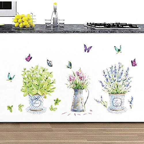 BLOUR DIY Wandaufkleber Topf Blumentopf Schmetterling Home Decor Badezimmer Decals wasserdichte Landschaftsbau Home Decoration Art Decals