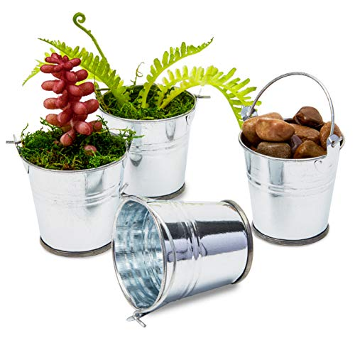 Juvale 48-Count 2-Inch Mini Silver Metal Tin Bucket Pails with Handles for Party Favors and Succulents