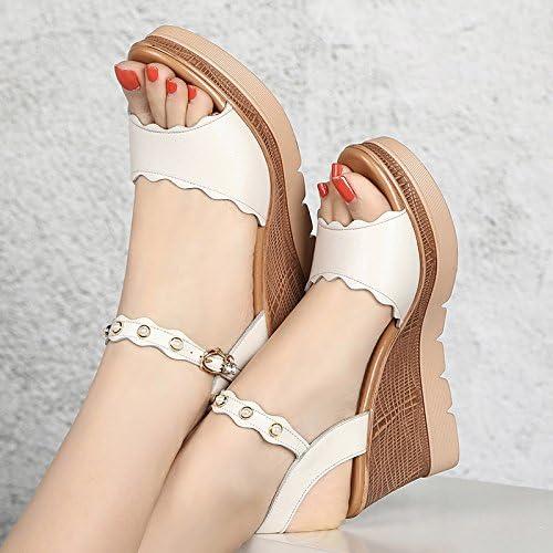 GTVERNH Sommer Sandalen Weiblich Neigung Und 8 Cm Hohen Absätzen Dick Fisch Kuchen Wasserdicht Weibliche Sandalen 39 Blanc