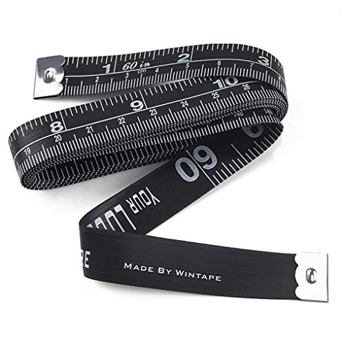WINTAPE Beidseitiges Körpermaßband WINTAPE Doppelseitiges Körpermaßlineal Nähtuch-Schneiderband weiches Band für Familienmaß Brust-/Waistumfang, 60 Zoll/150cm (16mmSchwarz)