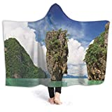aosup James Bond Island in Phang NGA Thailand Hooded Blanket Flannel Wearable Cozy Hooded Cloak Cosplay Cape for Adults Kids Winter Sofa Home Travel Style81225,60x50inch