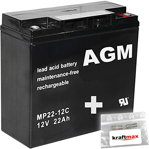 kraftmax 2X AGM 12V / 22Ah Blei-Akku - MP22-12C [ M6 - Innengewinde ] Zyklenfest inkl. 2X Original Anschluß-Adapter