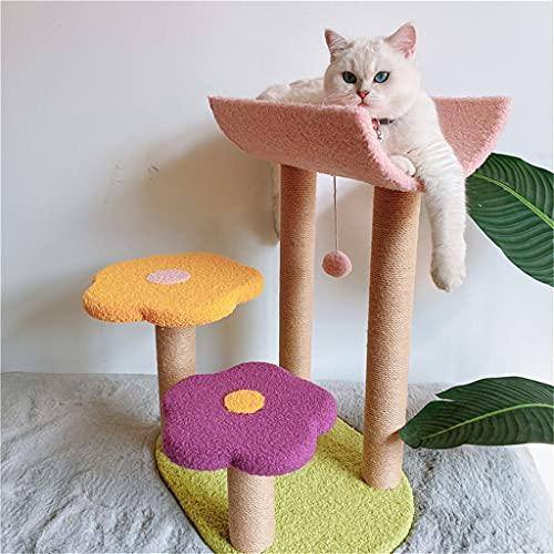 YLHXYPP Colorido flor gatos trepador marco sisal scratch tablero mago de gatos árbol pata princesa chaise tounger den gatos grandes