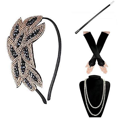 E EBETA 1920 Accessori Set Flapper Costume Anni '20 Charleston Perla Collana Fascia Porta Sigarette Guanti Accessori Gatsby per Le Donne (Set-2G)