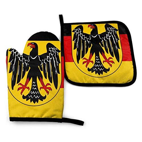 Guantes de Cocina y Juego de Mantel Individual Bandera Águila Alemaniacon Silicona Antideslizantes para Cocinar, Asar(Juego de 2 piezas)