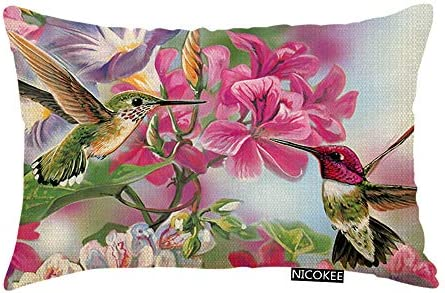 Nicokee Throw Pillow Cover Funny Novelty Hummingbird Decorative Pillow Case Home Decor 20x12 product image
