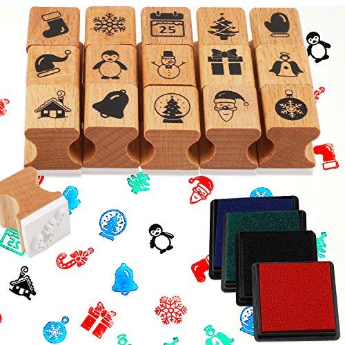 HOWAF Navidad Madera Sellos con Almohadilla de Tinta, Sellos Navideños para Niños Bricolaje Impresión Scrapbooking Navidad Cumpleaños Fiesta Artículo Regalo Accesorios