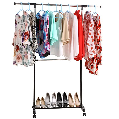 Utheing Garment Rack Adjustable Height Double Rod Clothes Rack Rolling Metal Hanging Dryer Clothing Rack Organizer with Wheels for Laundry Room Bedroom