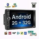 Android Coche Radio 2 DIN GPS, Podofo Quad Core 2G+32G 1080P FM Reproductor de Video con 7' capacitiva Pantalla táctil Bluetooth WiFi SWC WiFi AUX TF USB Espejo Enlace + Camara Marcha atras