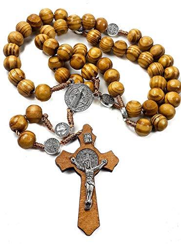 Rosario - Lote de 10 cuentas de San Benito, medalla de San Benito, colgante de cruz de San Benito