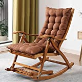 shmcc Bamboo Rocking Chair Recliner Home Grown-up Balcony Lazy Leisure Old People Nap Solid Wood Chair Easy to Fold and Free of Installation, Thickened and Reinforced, 200kg