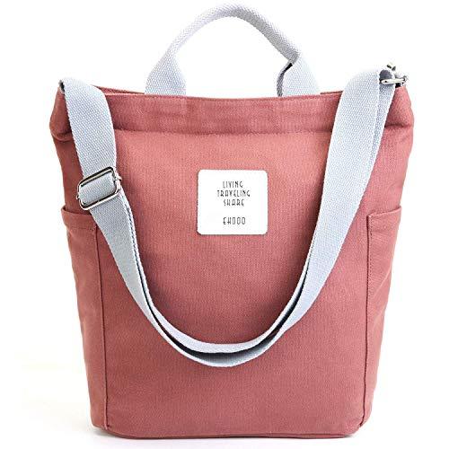 Yidarton Damen Umhängetaschen groß Tasche Casual Handtasche Canvas Chic Damen Schultertasche Henkeltasche für Schule Shopping Arbeit Einkauf (Ziegelrot)