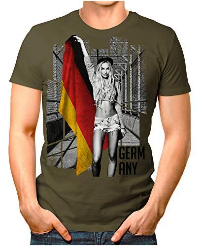 OM3® - Germany-Soccer-Girl - Herren T-Shirt EM 2020 Fußball Trikot Sexy Frau Deutschland Vintage Oliv 4XL