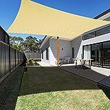 Ankuka Voile d'ombrage Rectangulaire 4x6M, Auvent Imperméable UV Protection pour Jardin Terrasse Extérieur Patio Piscine avec Corde Libre (Champagne)