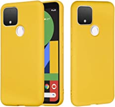 HNZZ Phone Case for Google Pixel 4a 5G,Pure Color Liquid Silicone Shockproof Full Coverage Case (Color : Yellow)
