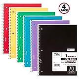 Mead 72873 Spiral-Notizbücher, 1 Thema, breit, liniert, 70 Blatt, 25,7 x 19,7 cm, Farben ausgewählt, 4 Stück