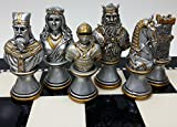 HPL Medieval Times Crusades Knight Chess Men Set Gold & Silver Busts - NO Board