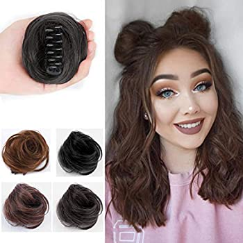 2Pcs Mini Claw Clip in Messy & Cat Ears Hair Bun Extensions Chignon Human Hair Wig Accessory Updo Human Hair Hairpieces for Women Girls  Dark Brown