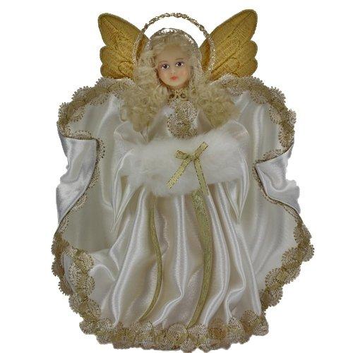 Eggl Weihnachtsengel Engel Figuren handgemacht Baumspitzenengel Trachtenengel (25cm, Weiss)