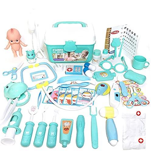 NIDONE Doctor Toy Kit Bambini pretendando Medico Infermiere Giocattoli in plastica Giocattolo Giocattolo Giocattolo di Ruolo con Scatola di stoccaggio per Carry Regali di Compleanno 48pcs