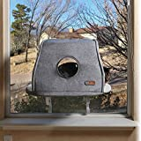 "K&H PET PRODUCTS Universal Mount Kitty Sill with Hood Gray (14"" x 24"") - No Window Sill Required Window Perch Cat Bed, Fleece"
