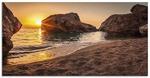 Artland Glasbilder Wandbild Glas Bild einteilig 100x50 cm Querformat Strand Meer Südsee Thailand Sonne Urlaub Sommer Natur Landschaft Felsen S7LF