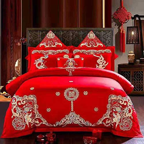 Rojo Boda Funda De Nórdica Sábana Funda De Almohada 48X74CMX2 Textiles Para El Hogar Ropa De Cama Juego De 4 Piezas Funda De Edredón,J-queen:200X230CM.Sheet:250X270CM(1.5/1.8m.bed)